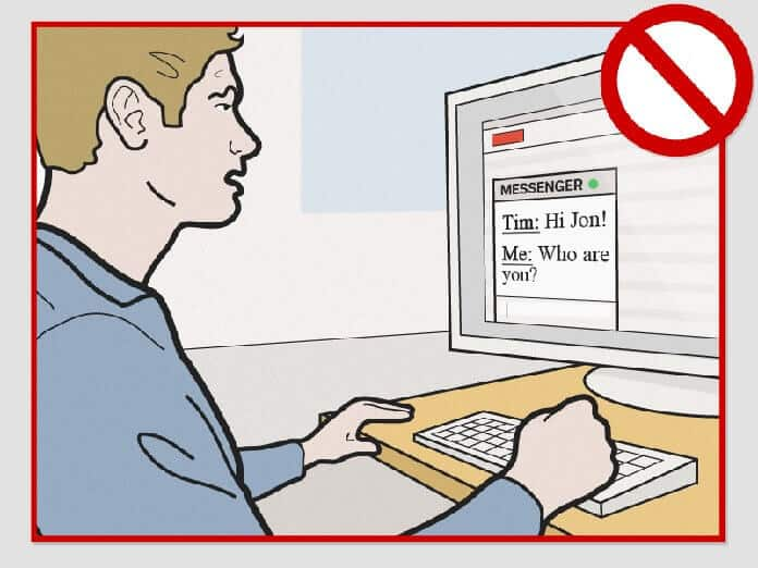 Cartoon guy staring at a computer