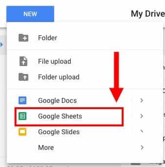 Create a new Google Sheet