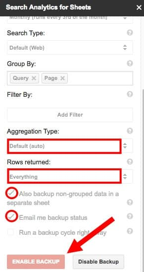 Sidebar Backup settings for Search Analytics