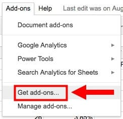 Get an Add-on from Google Sheets