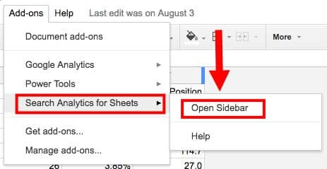 Open Search Analytics Sidebar