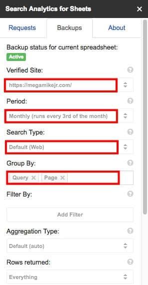 Search Analytics backup settings